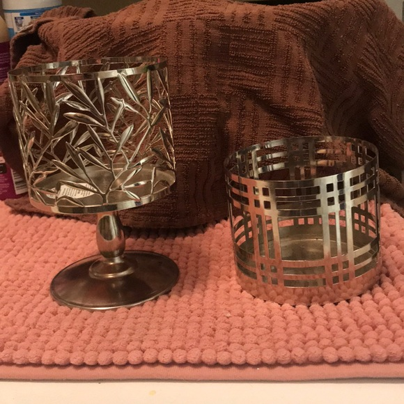 2 Bath and body works 3 wick candle holders